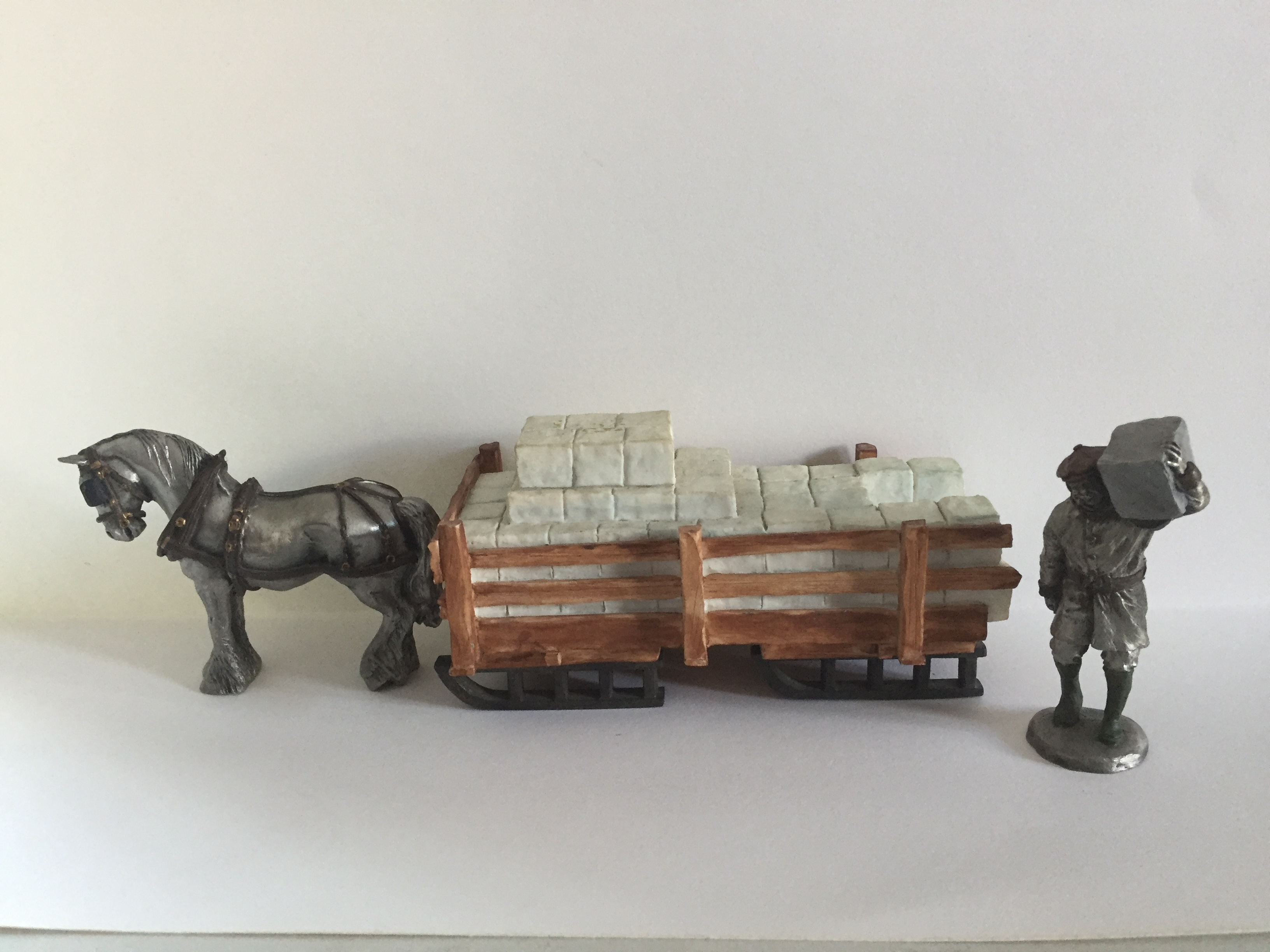 Pewter Ice wagon_man_horse